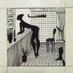Una piastrella nel bagno di un bar